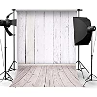 MOHOO 5X7ft Newborn White Wood Floor Photography Backdrop Art Fabric Studio Background Photo Props Studio(1.5x2.1m)No Wrinkles