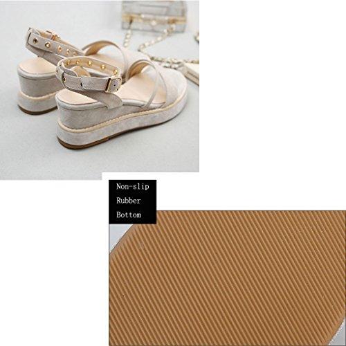 Ouvert Bout À Sandals Décontractées Coréenne Compensées Femme Abricot Version Chaussures Plage De Romaines Bw66qRYX