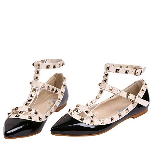 scarpa Nero Ochenta basse borchie cinghia caviglia alla da donna dxqOCT