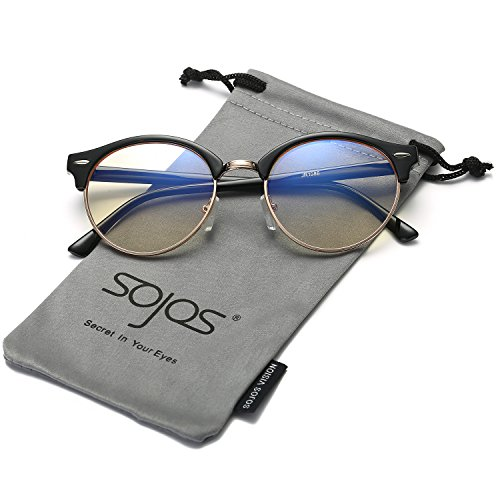 ea2dad1992e SojoS Classic Clubround Shades Semi-Rimless Unisex Sunglasses with Metal  Rivets SJ2031 With Black Frame Computer Glasses - Buy Online in Oman.