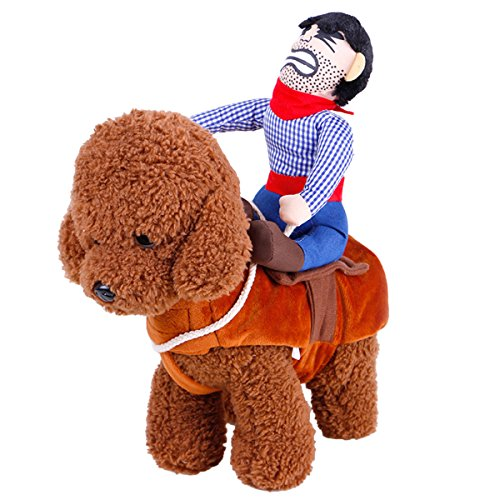 UHeng Funny Pet Dog Cat Dress Up Clothes Cowboy Rider Horse Halloween Costume