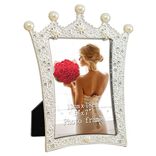 5x7 Silver Picture Frame Vintage Metal Photo Frames with Crystal Pearl Decor, -