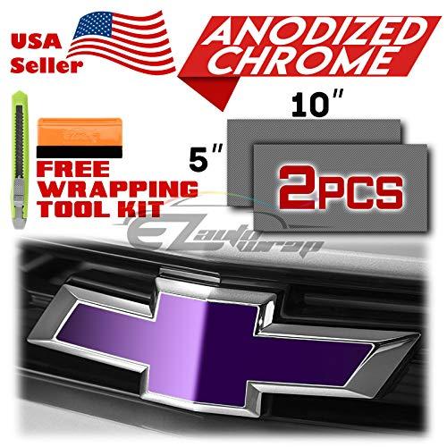 EZAUTOWRAP Free Tool Kit 2Pcs 5x10 Chevy Emblem Bowtie Matte Metallic Blue Vinyl Wrap Sticker Decal Film Sheet