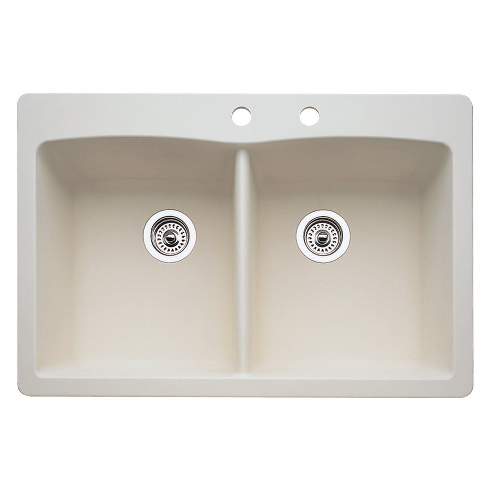 Blanco 440222-2 Diamond 2-Hole Double-Basin Drop-In or Undermount Granite Kitchen Sink, Biscuit