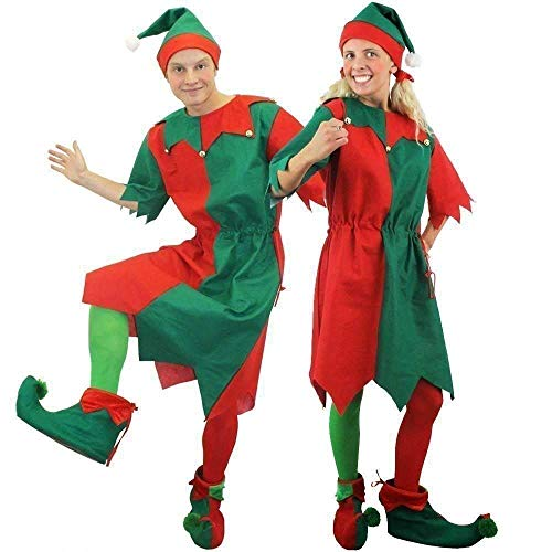 MENS & WOMENS CHEEKY ELF FANCY DRESS COSTUME. CHRISTMAS ELF COSTUME FOR MEN & WOMEN IN RED & GREEN WITH JINGLE BELLS, ELF TIGHTS, ELF HAT, AND ELF SHOES. SIZE: LADIES UK 16-18 | MENS LARGE