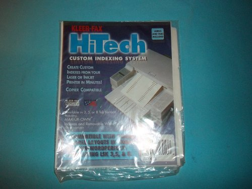 Kleer Fax 23013 HiTech Custom Indexing System Labels and Tabs Included 8 1/2
