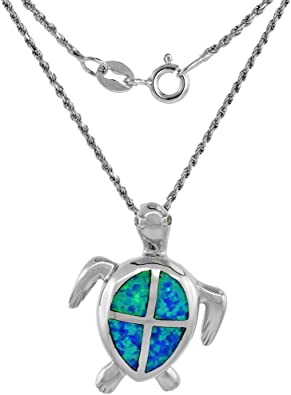 Sterling Silver Rhodium Plated Synthetic Blue Opal Inlay /& Synthetic CZ Tortoise Pendant