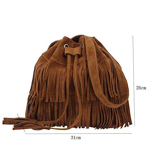 tout la Femmes Bourse Manipuler Cartable frange fourre sacs Épaule demoiselle marron Sac à main KINDOYO Des Clochard Cuir Noir 6wqzdRxw5