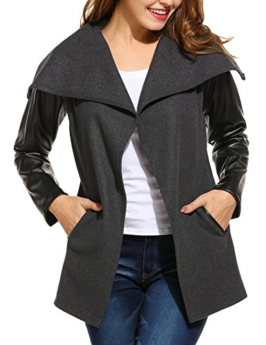 66b17058681 Women Open Front Wrap Coat Wool Blend Oversized Collar Jacket with Faux  Leather Sleeve