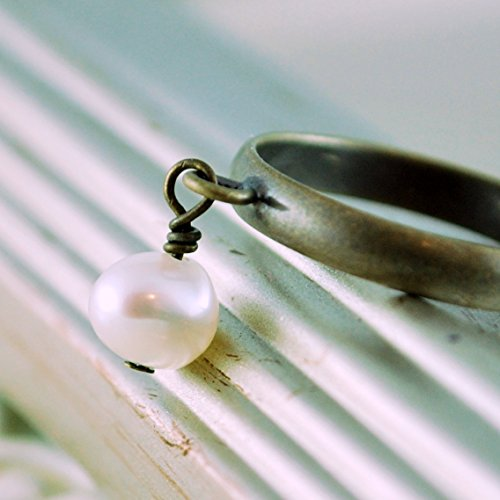 (Brass Charm Ring with White Freshwater Pearl)