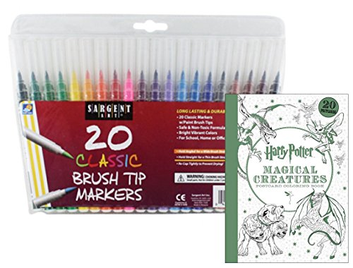 Harry Potter Magical Creatures Postcard Coloring Book & 20 Sargent Art Firm Brush Tip Marker Pens Gift Set – Color Your Favorite Magical Hogwarts Creatures - For All Ages