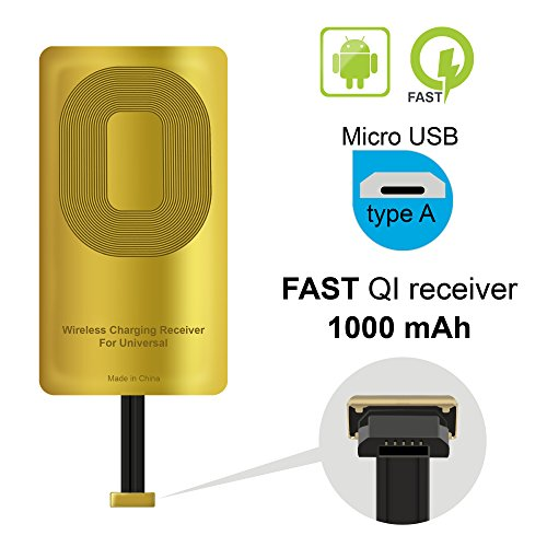 QI Receiver Type A for Samsung Galaxy J7 - J3-J6- S5 - LG V10 -LG Stylo 2-3 -Plus - QI Wireless Adapter- Wireless Charging Receiver- QI Receiver Adapter Samsung -Qi Charger Adapter Samsung Galaxy J7 ()