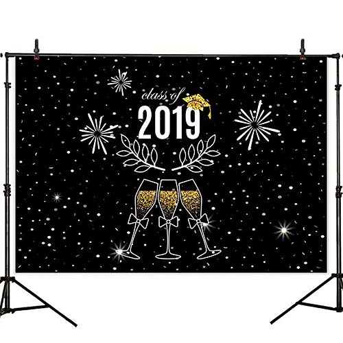 Allenjoy 8x6ft Durable Fabric Night Stars Prom Class of 2019 Photography Backdrop Background Black Ivy Golden Wine Glass Photograph Backgrounds for Graduation Party Props Cake Table Banner