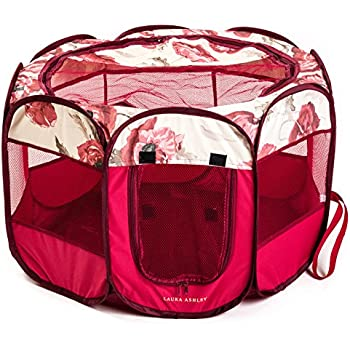 """Laura Ashley Printed Pop-up Water-Resistant Pet Playpens, 29""""x29""""x17"""" (Fresh Ford)"""