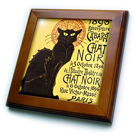 Vintage French Chat Noir Black Cat Art-Framed Tile