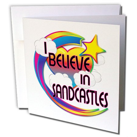 3dRose Dooni Designs - Believe In Dreamy Belief Designs - I Believe In Sandcastles Cute Believer Design - 12 Greeting Cards with envelopes (gc_166842_2)