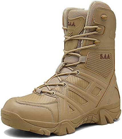 WQLESO Mens Außenleichtgewicht Military Combat Boots Police Training Special Forces Stiefel Tactical Sicherheit Recon Stiefel,Sand color-39