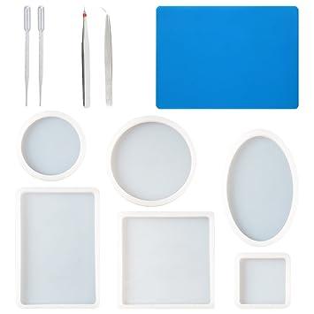 CCMART Paquete de 6 grandes moldes de resina,incluyen cuadrado,rectángulo,redondo,