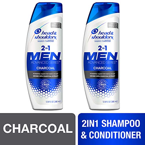 Head and Shoulders Shampoo and Conditioner 2 in 1, Anti Dandruff Treatment, Charcoal for Men, 12.8 fl oz, Twin Pack ()