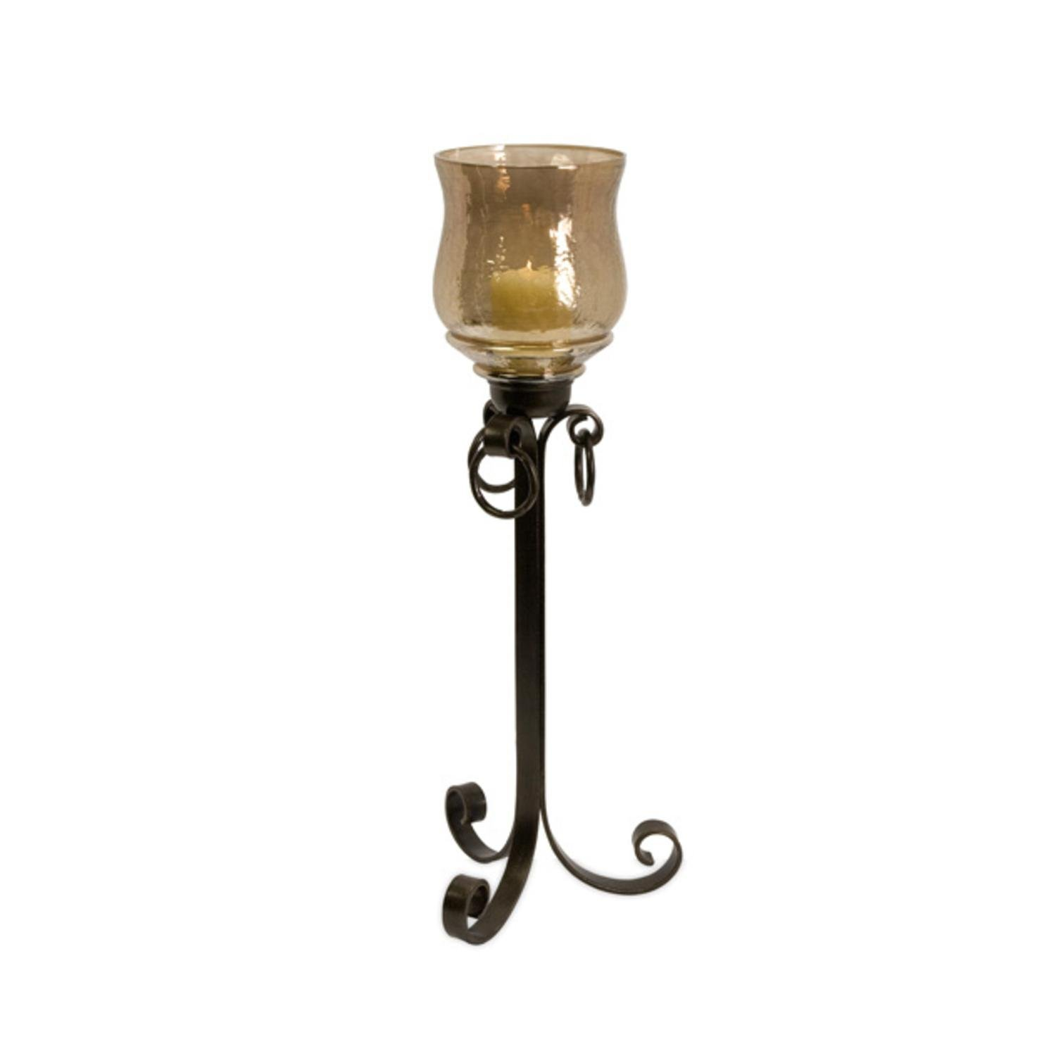 28.5'' Golden Brown Glass Floor Hurricane Pillar Candle Holder with Iron Base by CC Home Furnishings