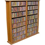 Venture Horizon Double 50-Inch CD DVD Wall Rack Media Storage - Oak