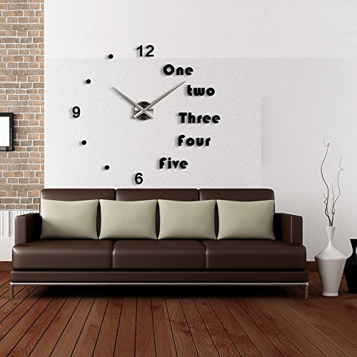 Lance Home Modern 3D Frameless Large Wall Clock Style Watches Wall Sticker DIY Room Home Decorations – Black