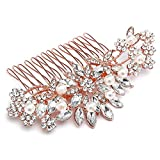 Mariell Vintage Rose Gold Bridal Hair Comb Simulated Pearl Crystal Wedding Hair Accessories