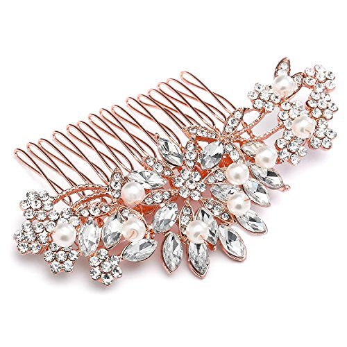 Box Gold Floral Jewelry (Mariell Vintage Rose Gold Bridal Hair Comb Simulated Pearl Crystal Wedding Hair Accessories)
