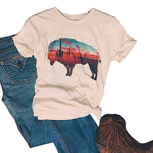 Arizona Buffalo Cactus Graphic T-Shirt Women Summer Casual Tops Sunshine Tee Size S