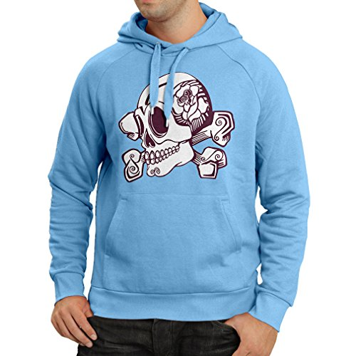 Hoodie Great Tattoo Inspired Flower Detailed Skull and Bones Motif (Small Blue Multi Color) ()