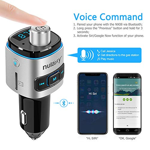 Bluetooth FM Transmitter for Car, Nulaxy Bluetooth Radio Adapter Wireless Car Kit with QC3.0 Charging, RainbowLED Backlit, Support Siri/Google Now, USB Flash Drive, TF Card, Handsfree Calling - NX09 by Nulaxy (Image #5)