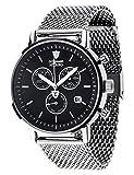 DETOMASO MILANO Men's Watch Chronograph Analog Quartz Silver Stainless Steel Milanaise Bracelet Black Dial DT1052-L