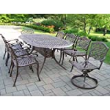 Oakland Living Mississippi Cast Aluminum 82 by 42-Inch Oval 9-Piece Dining Set in Antique Bronze with Swivels Review
