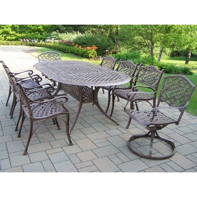 Oakland Living Mississippi Cast Aluminum 82 by 42-Inch Oval 9-Piece Dining Set in Antique Bronze with Swivels
