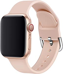 Soft Silicone Strap Compatible with Apple Watch Series 6/SE/5/4 40mm,Washable Sport Replacement Band for iWatch 3/2/1 38mm Wristband with Cut-Hole & Stainless Double Buckles
