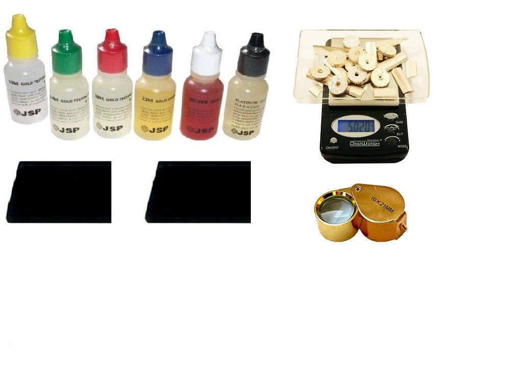 PuriTEST Brand IDENTIFY GOLD STERLING SILVER-6 TESTING BOTTLE KIT-SCALE-EYE PIECE by PuriTEST