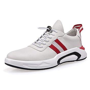 YAN Zapatos para Hombres Zapatos Deportivos de Cuero Casuales Zapatillas de Running Gimnasio Athletic Zapatillas Blancas, Rojas, Negras: Amazon.es: Jardín