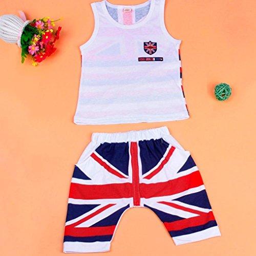 Webla Toddler Kids Baby Boys Summer Vest Tops+Short Pants 2Pcs The Union Jack Clothes Set for 2-6 Years 2-3T, White