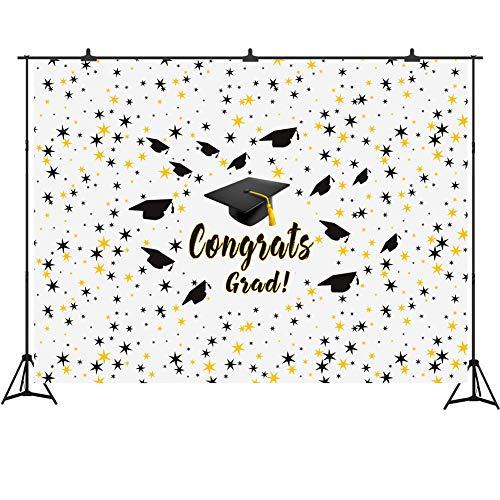 7' Grad Cap - Graduation Backdrop Banner White Photo Booth Background 7x5ft Vinyl Congrats Grad and Graduation Cap Photography Props Party Supplies 2019