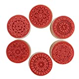#2: DECORA 6 Pieces Floral Pattern Round Wooden Rubber Stamp for Scrapbooking
