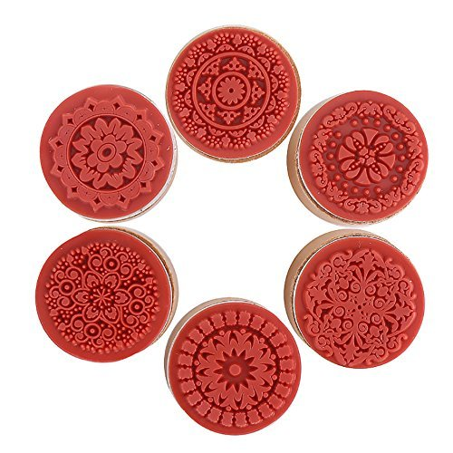 (DECORA 6 Pieces Floral Pattern Round Wooden Rubber Stamp for Scrapbooking)