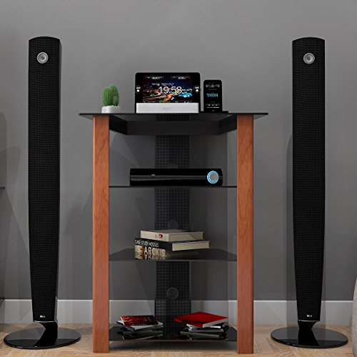 Ashton Multi-Level Component Stand in Wood ()