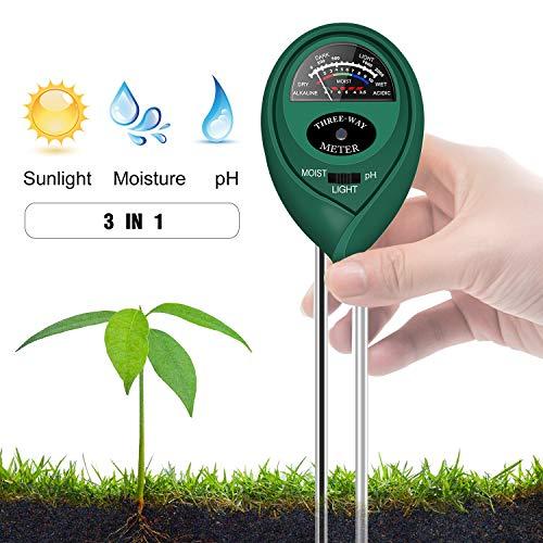 Updated Soil pH Meter,3-in-1 Moisture Sensor Meter/Light/pH Soil Test Kits Test Plant Moisture Meter for Garden, Farm, Lawn, Indoor & Outdoor Use (Yellow) (Green) by Geekroom