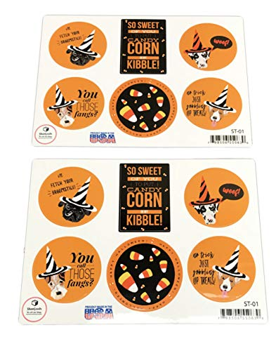 Festive Happy Halloween Dogs Set of Two Holiday Sticker Sheets ()