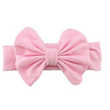 Cute Baby Girls Kids Stretch Bowknot Headband Hairband (Pink ... 2fd52a1fbcd