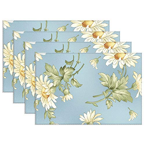 - DKISEE Stain Resistant Placemats, Tossed Daisies Anti-Skid Washable Polyester Table Mats Non Slip Washable Placemats, 12
