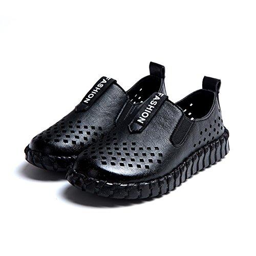 Eagsouni® Unisex-Kinder Atmungsaktive Mesh PU Leder Schuhe weiche Sohle LederSchuhe Schwarz