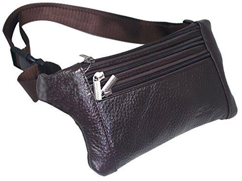 Pack Travel Lumbar Pack (Mens Leather Waist Hip Lumbar Fanny Pack Bag Womens Travel Cell Phone Pocket (Dark Brown E23))