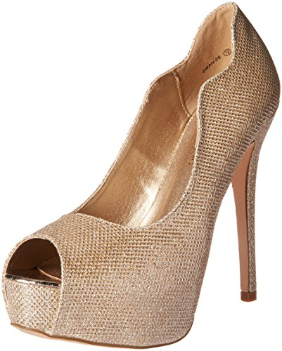 DREAM PAIRS Women's Swan-25 Pump, Gold, 8.5 M US