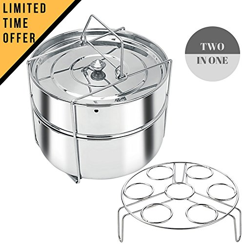 Stackable Stainless Steel Pressure Cooker Steamer Insert Pans with Sling and egg rack – Instant Pot in Pot Accessories- Food Steamer for cooking- Fits 6+ qt instant pot 51RftYZ6XAL